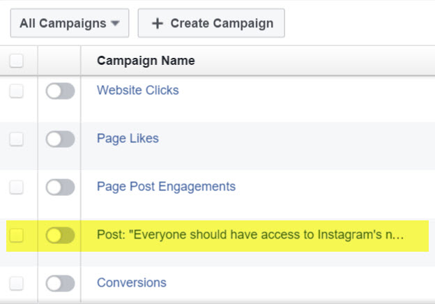 Boosted Posts mess with campaign structure