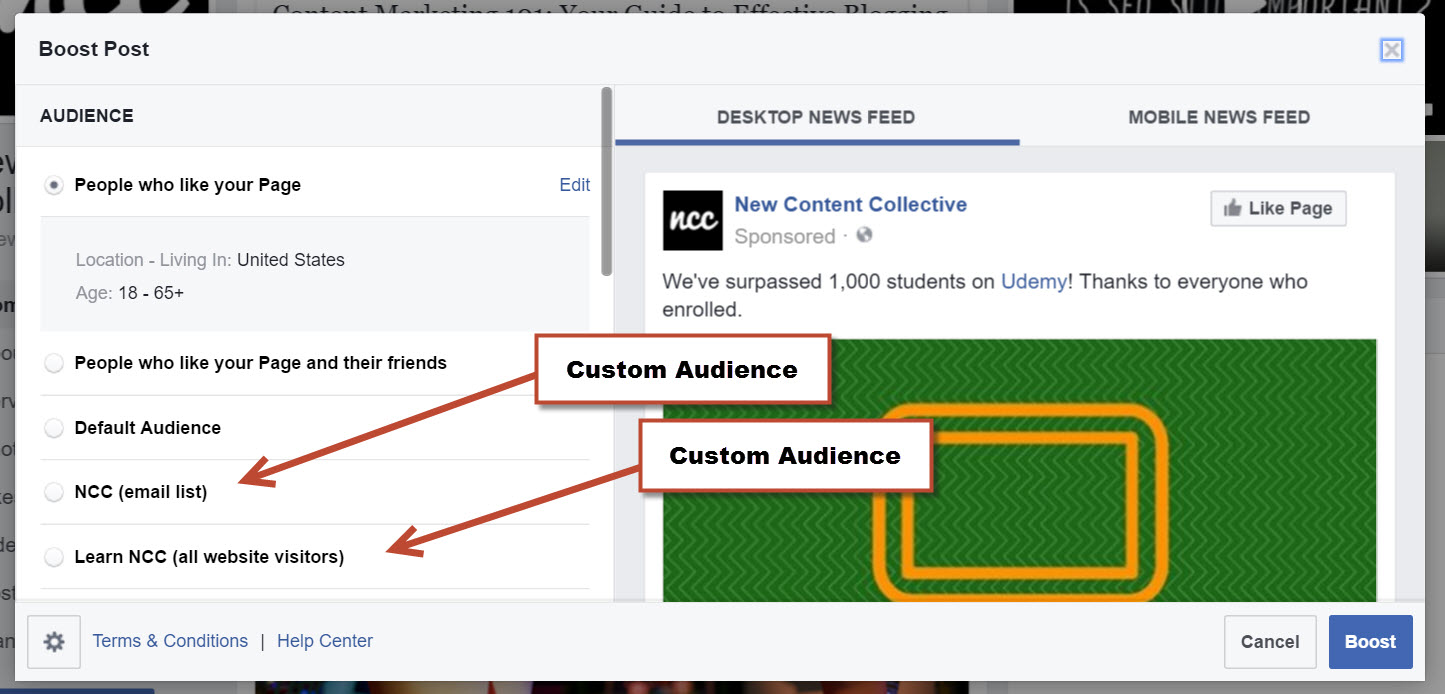 Where to find Custom Audiences within Boosted Posts